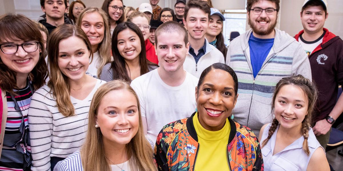 Illinois Lt. Gov. Juliana Stratton with students and staff
